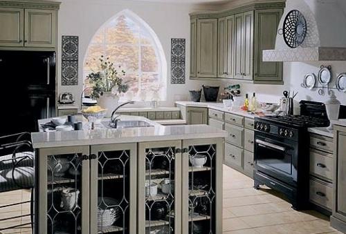 küchen mit vitrinenschrank