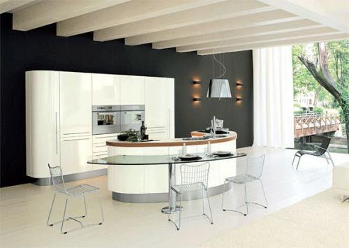 küchen ovale form und glas