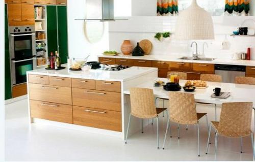 kücheninsel system mit schubladen esstisch und stühle