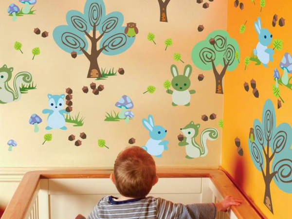 kinder wandtattoo bunter wald
