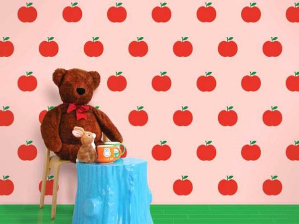 kinderzimmer wandtattoo mit roten äpfeln