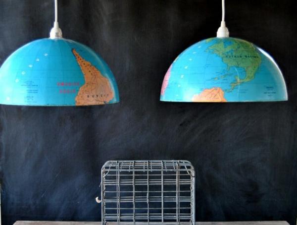 kreative bastelideen pendelleuchten aus globus