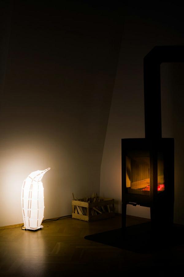 lampen schirm design leuchtender pinguin
