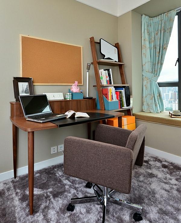 leiterregal wandregale DIY büro kompakt gardinen schreibtisch