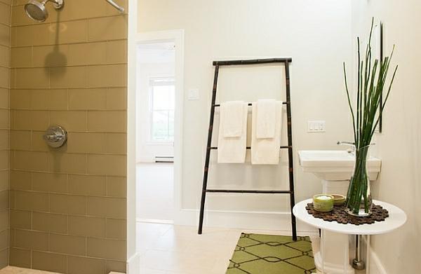 leiterregal wandregale DIY badezimmer rund tisch weiß waschbecken