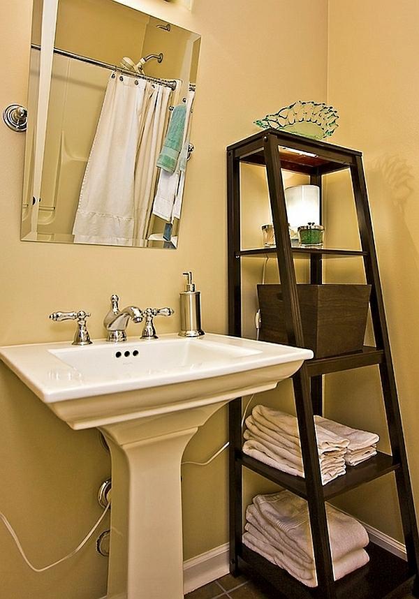 leiterregal wandregale DIY badezimmer waschbecken tücher