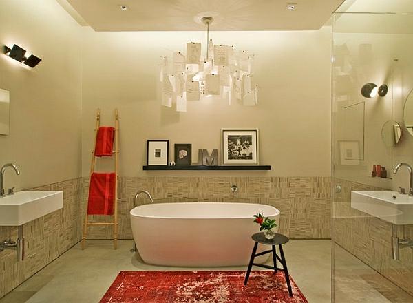 leiterregal wandregale DIY rot badetücher bodenteppich stuhl hängelampe