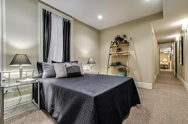 leiterregal wandregale DIY schlafzimmer dekoration schwarz bettwäsche