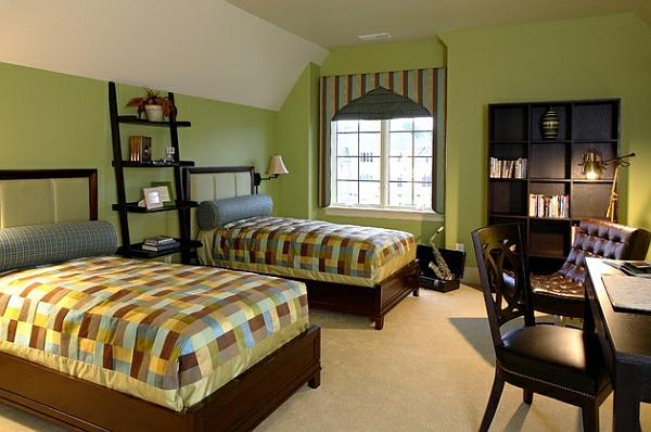 leiterregal wandregale DIY schlafzimmer grüne wandgestaltung