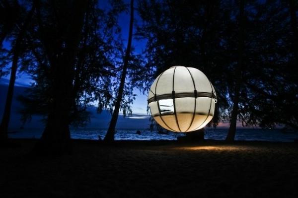 luxus zelt beleuchtet in der nacht
