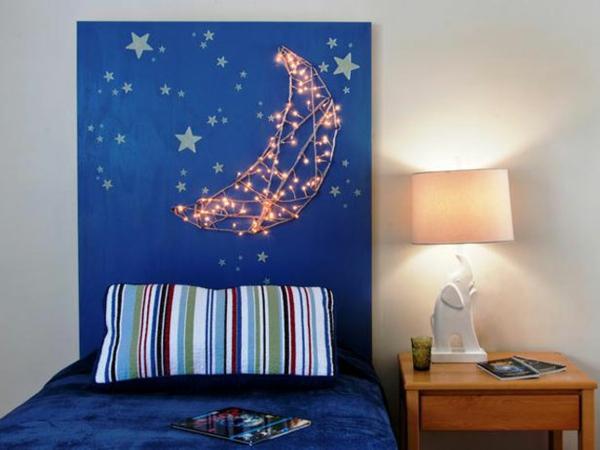 mondlicht schlafzimmer design kopfteil kinderzimmer