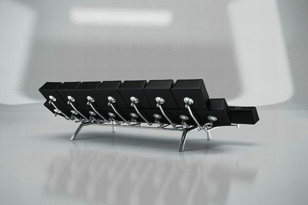 qwerty sofa mit spiegelblankem gestell
