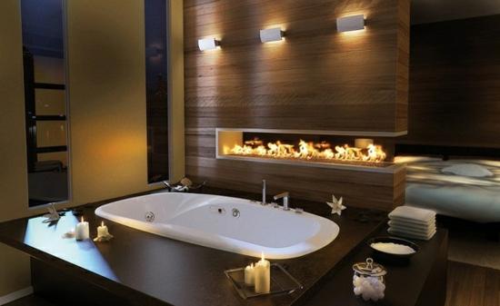 romantisches bad mit moderner feuerstelle