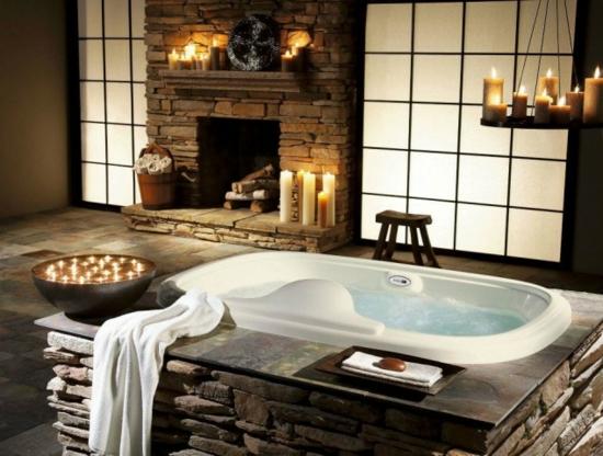 romantisches badezimmer mit natursteinen