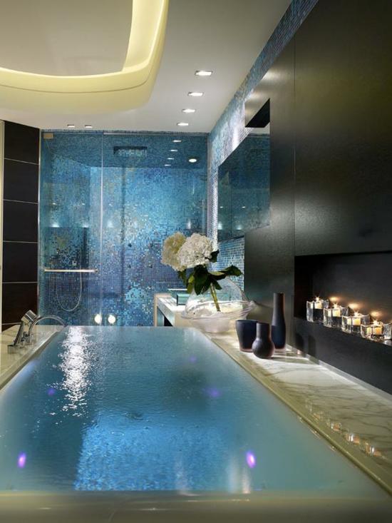 romantisches badezimmer türkise mosaik fliesen