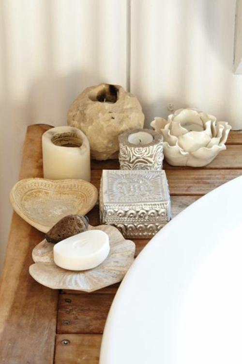 rustikales badezimmer windlichter und schalen