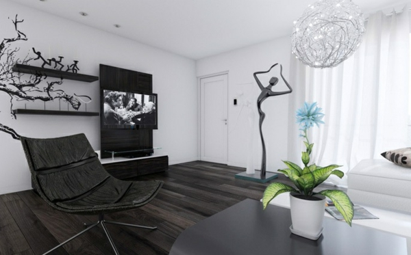 schwarz weiß ergonomischer sessel offene regale