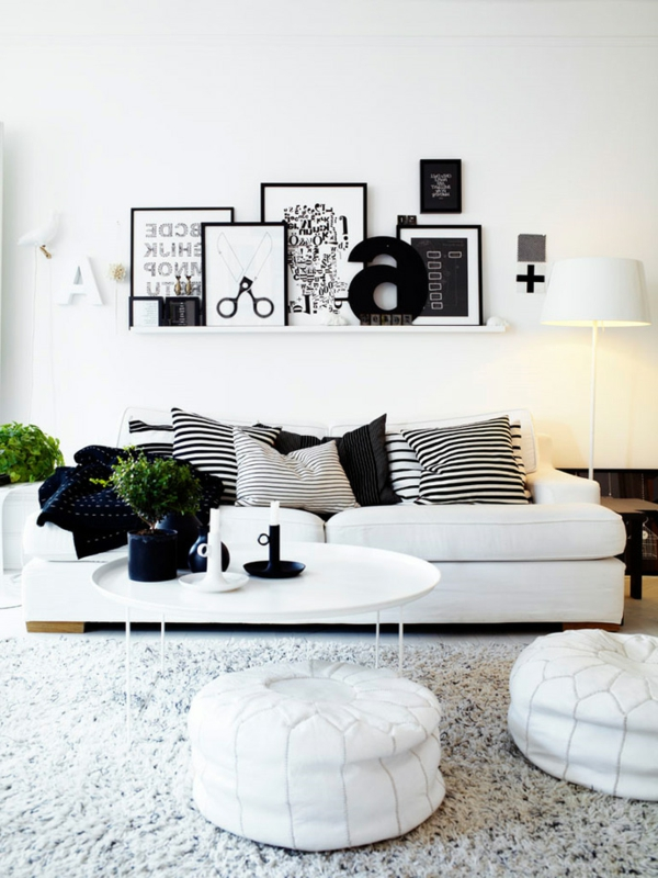 schwarz weiß interieur runde lederhocker