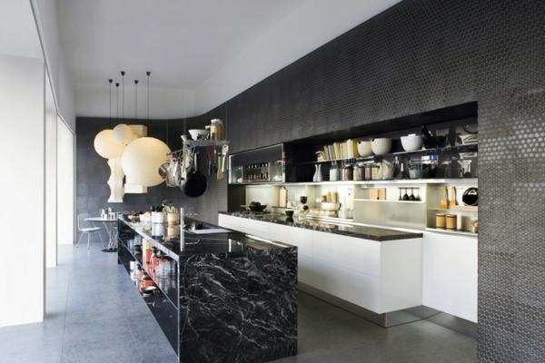schwarz-weiß kücheninsel in marmor look
