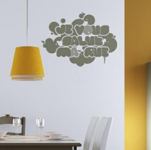 sticker hängelampe gelb lampenschirm wand