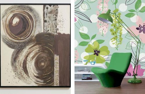 tapetentrends überdimensionierte blumen und abstrakte kunst