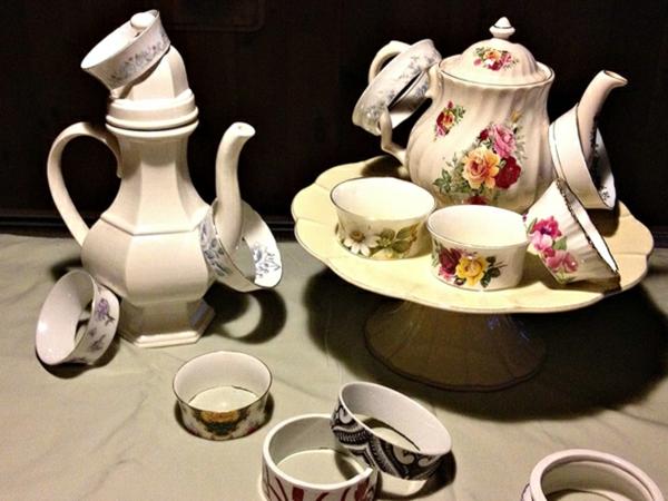 tee tassen armreifen dekoration aus porzellan