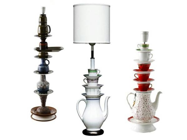 tee tassen und teekannen als elegante lampenfüße