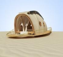 Transportable Häuser in Raupenform von Nomadic Resorts