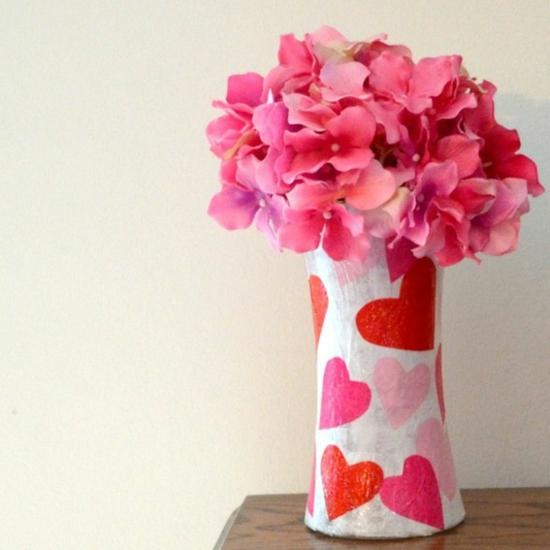 valentinstag ideen vase mit herzen
