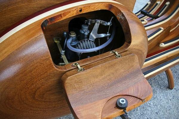 vespa roller aus holz der motor