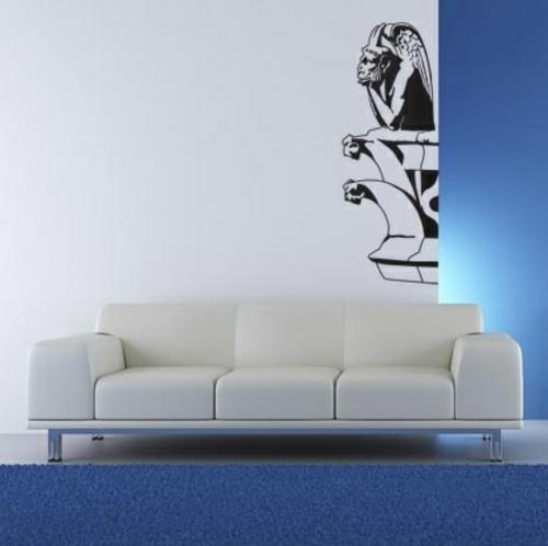 wandsticker wandtattoo wanddeko blau teppich wand beleuchtung