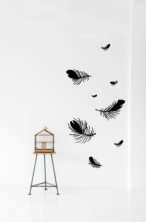 wandsticker wandtattoo wanddeko feder vogelkäfig
