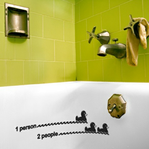 wandsticker wandtattoo wanddeko grün gelb badezimmer