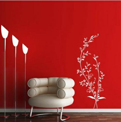 wohnzimmer rote wand:wandsticker wandtattoo wanddeko rot farbe stehlampen modern