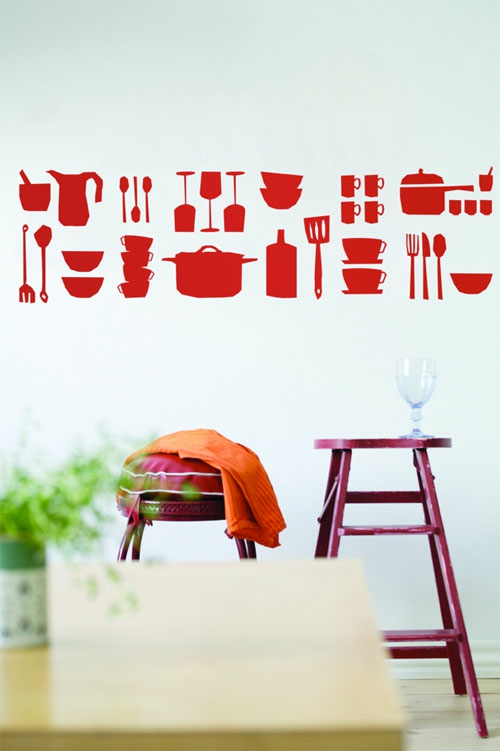 wandsticker wandtattoo wanddeko rot küche geschirr