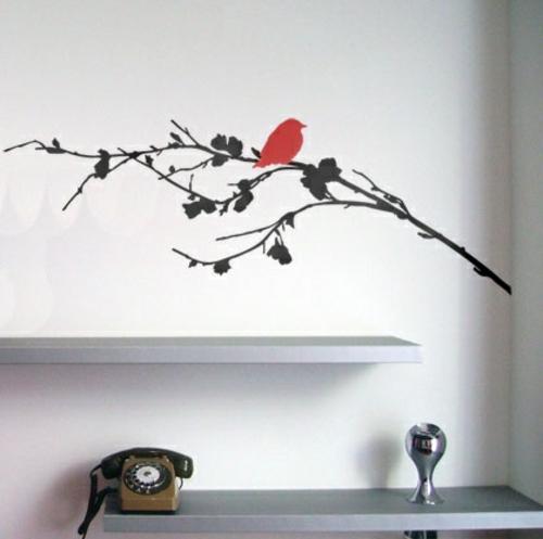 wandsticker wandtattoo wanddeko rot vogel zweig