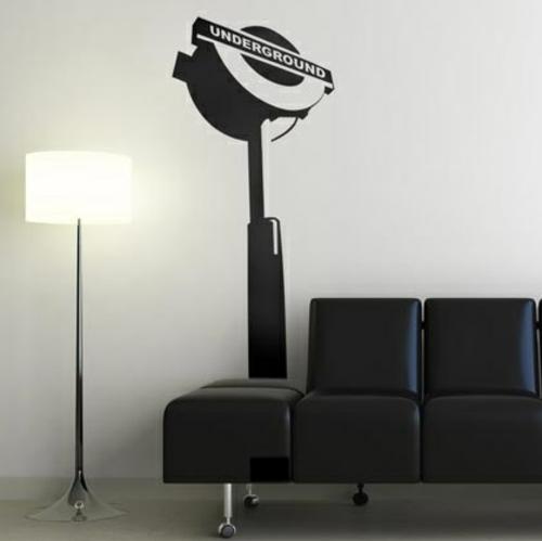 wandsticker wandtattoo wanddeko schwarz leder mobiliar