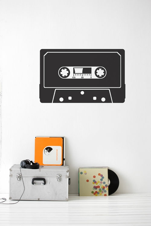 wandsticker wandtattoo wanddeko selbstklebend kassette