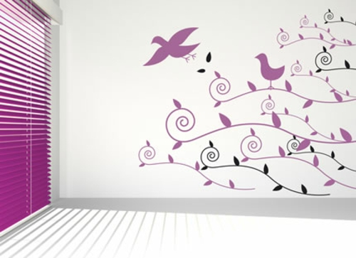wandtattoo muster lila vögel