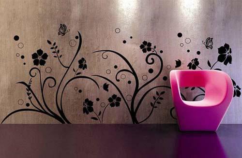 wandtattoo muster wanddeko blumen rosa sessel