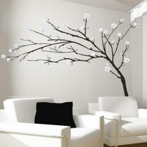 wandtattoos muster weiße blüten baum