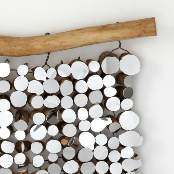 wandteppich naturholz stange und naturholz stücke