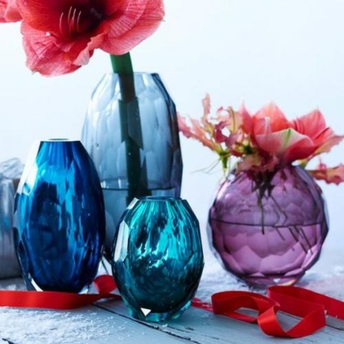wohn accessoires glasvasen in lila und blau