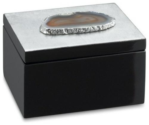 wohnaccessoires schmuckdose in schwarz mit achat