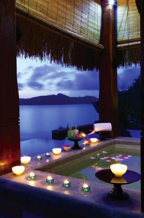 Badezimmer Deko Valentinstag badewanne strand meerblick