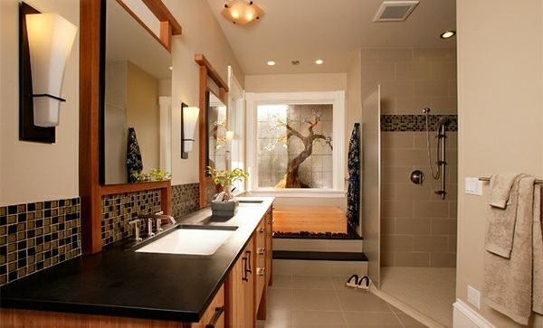 Badezimmer aus Asien badewanne baum bonsai tücher