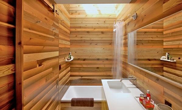 Badezimmer aus Asien badewanne holz platten dusch vorhang
