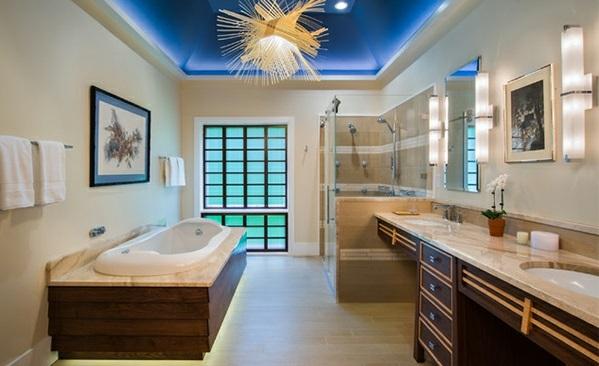 Badezimmer aus Asien badewanne lampe indirekt marmor