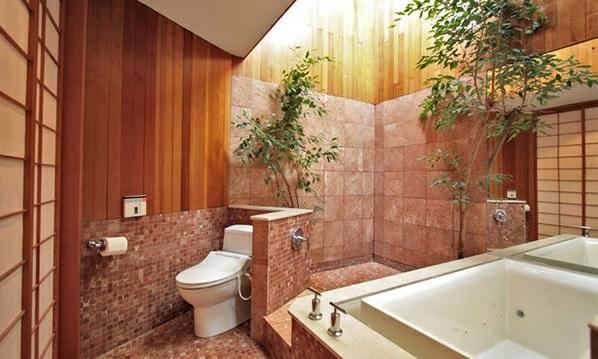Badezimmer  Asien badewanne wc pflanzen töpfe