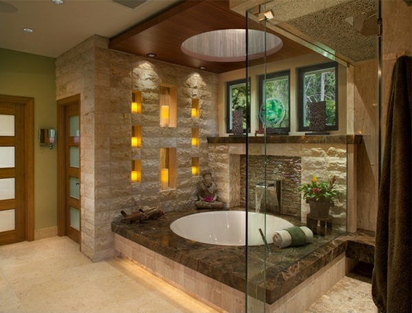 badezimmer asien naturstein kamin badewanne - Badezimmer Bilder